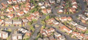 generic uk houses from above