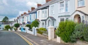 Colourful old terraced houses in UK