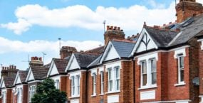 A typical row of suburban terraced houses in south west London- UK