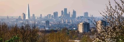 View over London's city center from One Tree Hill in South-East London